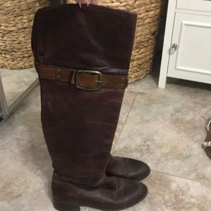 Jessica Simpson knee boots brown leather size 8